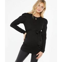 Maternity Black Tie Front Puff Sleeve Top New Look