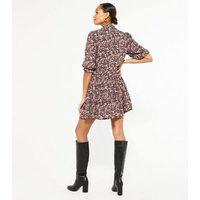 Black Floral High Neck Mini Dress New Look