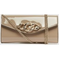 Camel Patent Chunky Chain Clutch Bag New Look Vegan