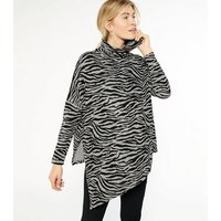 Maternity Black Zebra Print Fine Knit Asymmetric Top New Look