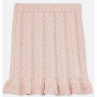 Pink Vanilla Mid Pink Cable Knit Mini Skirt New Look