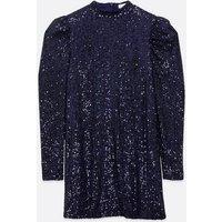 Blue Vanilla Navy Sequin Puff Sleeve Dress New Look