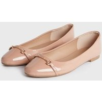 Wide Fit Pink Patent Bar Chain Ballet Pumps New Look