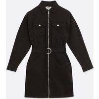 Black Denim Zip Belted Shirt Dress New Look