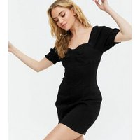 Black Denim Corset Mini Bodycon Dress New Look