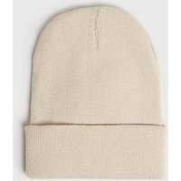 Cream Plain Beanie Hat New Look