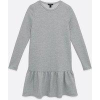 Tall Grey Marl Drop Ruffle Hem Sweatshirt Dress New Look