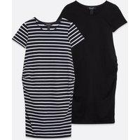 Maternity-2-Pack-Black-Stripe-Jersey-Dresses-New-Look