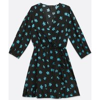 Black Floral Wrap Mini Dress New Look