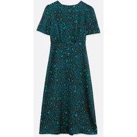 Green Satin Leopard Print Midi Dress New Look