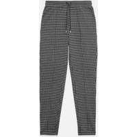 Black Dogtooth Tapered Joggers New Look
