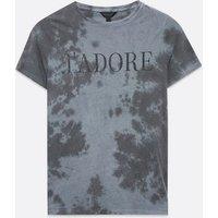 Black Tie Dye J'Adore Slogan T-Shirt New Look