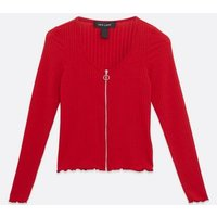 Red Ribbed Long Sleeve Zip Cardigan New Look