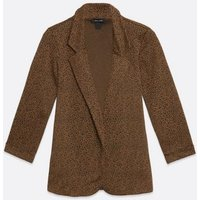 Brown Leopard Print Blazer New Look