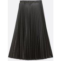 Black Leather-Look Pleated Midi Skirt New Look
