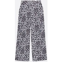 White Leopard Print Wide Leg Trousers New Look