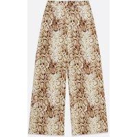 Brown Snake Print Wide Leg Trousers New Look