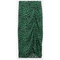 Green Leopard Print Ruched Midi Skirt New Look