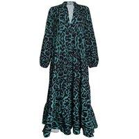 Gini London Green Leopard Print Tiered Long Sleeve Maxi Dress New Look