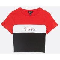 Girls Red Colour Block California Logo T-Shirt New Look