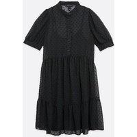Black Chiffon Spot Shirt Smock Dress New Look