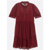 Burgundy Chiffon Spot Shirt Smock Dress New Look