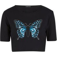 Cameo Rose Black Butterfly Crop T-Shirt New Look