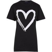 Cameo Rose Black Contrast Heart Print T-Shirt New Look
