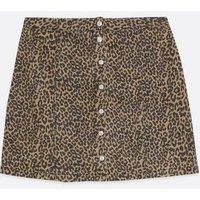 Curves Brown Leopard Print Denim Mini Skirt New Look
