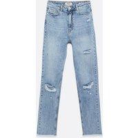 Tall Pale Blue Ripped Knee Waist Enhance Tori Mom Jeans New Look