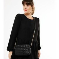 Black Leather-Look Quilted Camera Bag New Look Vegan