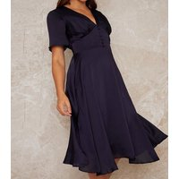 Chi Chi London Navy Button Front Satin Midi Dress New Look