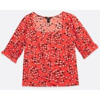 Red Floral Square Neck Top New Look
