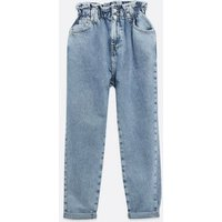 Petite Blue Elasticated High Waist Tori Mom Jeans New Look