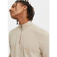 Men's Cream Zip Neck Sweatshirt New Look