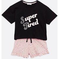 Girls Black Super Tired Logo Short Pyjama Set New Look
