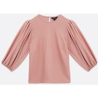 Pale Pink Textured Puff Sleeve Top New Look