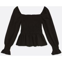 Petite Black Long Sleeve Shirred Peplum Top New Look