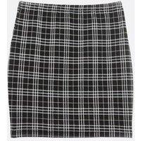 Petite Black Jacquard Check Tube Skirt New Look