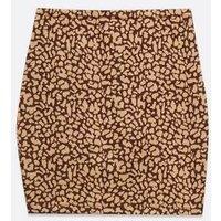 Petite Brown Leopard Jacquard Mini Tube Skirt New Look