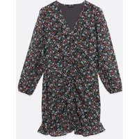 Petite Black Ditsy Floral Ruched Mini Dress New Look