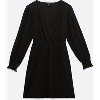 Black Wrap Crinkle Dress New Look