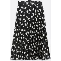 Black Abstract Spot Satin Belted Midi Skirt New Look