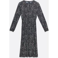 Black Animal Print Plisse Midi Dress New Look