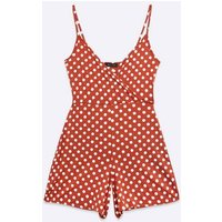 Rust Spot Wrap Jersey Strappy Playsuit New Look