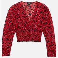 Petite Red Floral Shirred Hem Wrap Top New Look