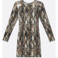 Pink Vanilla Brown Snake Print Padded Shoulder Dress New Look