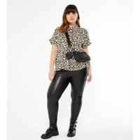 Curves Brown Leopard Print Short Sleeve Shirt New Look