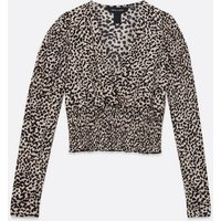 Brown Leopard Print Shirred Top New Look
