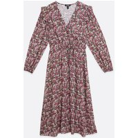 Curves Pink Floral Frill Button Midi Dress New Look